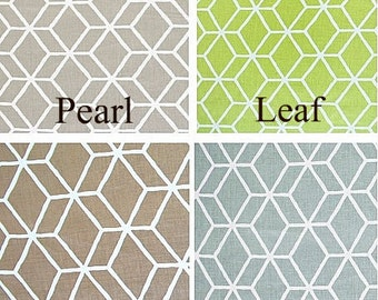 Braemore Diamond Geometric  50x84 Rod Pocket Panels, UNLINED  - more lengths to choose from - Pearl, Leaf Green, Robins Egg, Taupe