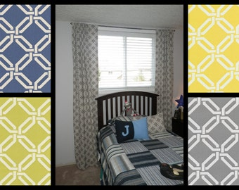 Braemore Geometric Trellis, 50x84 UNLINED Rod Pocket Panels, more lengths available - Blue, Green, Soft Grey, Lemon Yellow