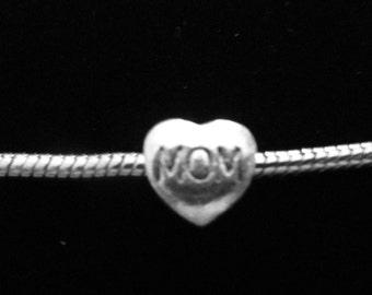 MOM HEART Pandora Style Charm