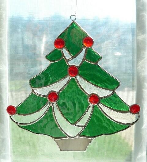 Big W White Christmas Tree: Stained Glass Christmas Tree Suncatcher
