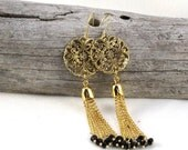Sinuous-Gold Plated, Crystal Earrings