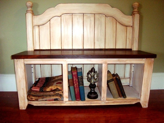 Entry Storage Bench- Repurposed Head board