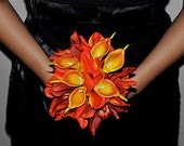 Red/Orange Wedding Bouquets with Calla Lilies