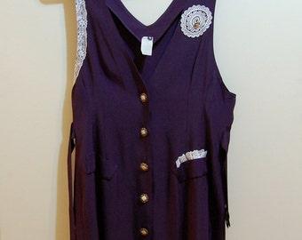 SALE M Vintage 80s Navy Doily Button-Down Dress