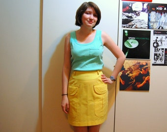 S Vintage 60s/70s Yellow Skirt With Pockets