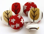 Button Pushpins - Golden Red Trees