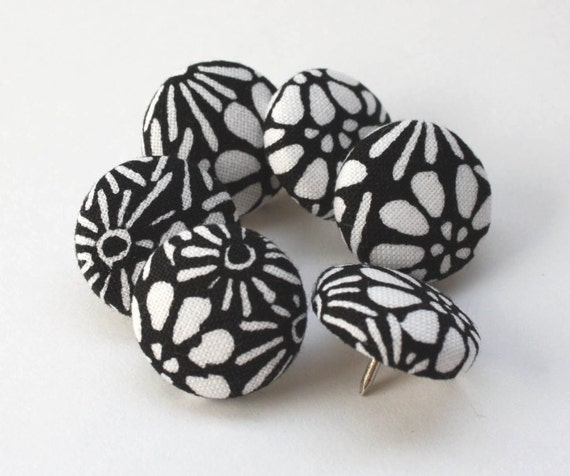 Button Pushpins - White and Black Flowers