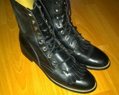 Vintage Western Justin Diamond Riding Boots Great Condition Black size 8