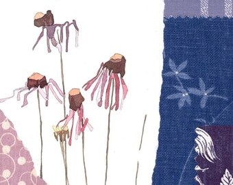 Purple Coneflowers--Original Mixed Media Collage