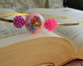 Bridal Accessories Headband Vintage Inspired Pink Floral 22K gold plated Chic Bridal HeadBand