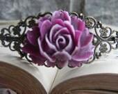 Victorian Inspired Bridal Prom Hair Piece Fascinator Lavender purple Floral HeadBand