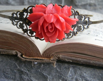 Christmas Weddings Hair Accessories Headband Victorian Inspired Prom Bridal Hair Piece Fascinator Red Floral HeadBand