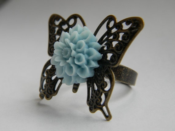 Wedding Jewelry Bridesmaids Butterfly Blue Ring