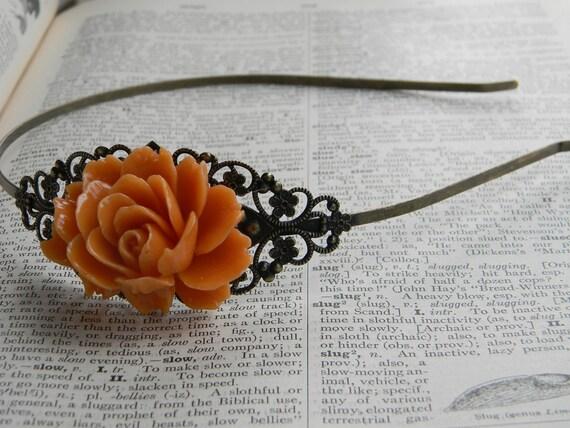 Vintage Inspired Golden Orange Autumn Wedding Hair piece Rose HeadBand