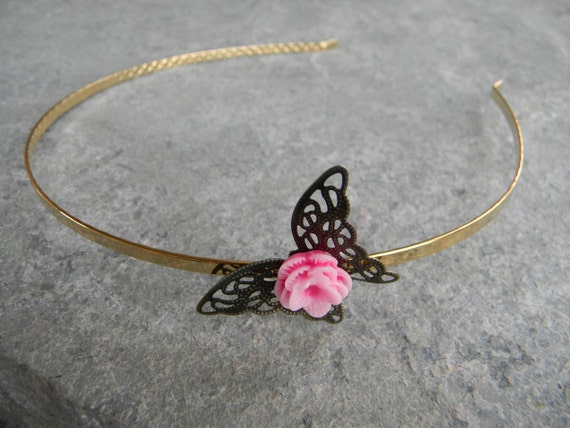 Weddings Hair headband 22K gold plated butterfly headband
