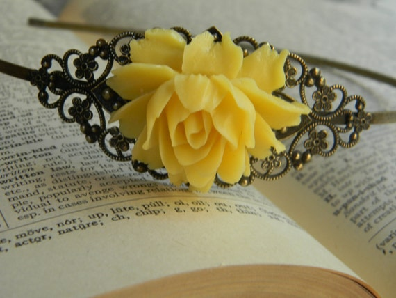Bridal Hair Accessory Yellow Floral Wedding HeadBand Hairpiece