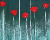 24x18 Abstract Poppies Original Expressionism Painting swalla studio whimsical