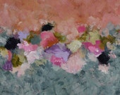 Original Colorful Flowers Abstract Expressionism painting  12 x 12 x 1.5