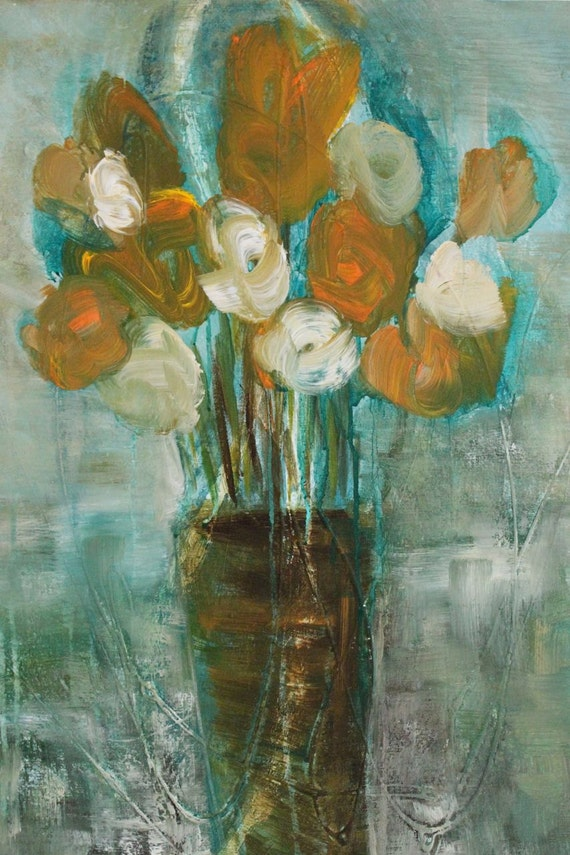 SALE - Painting Abstract Art Painting   22x28  Large Expressionism Bouquet