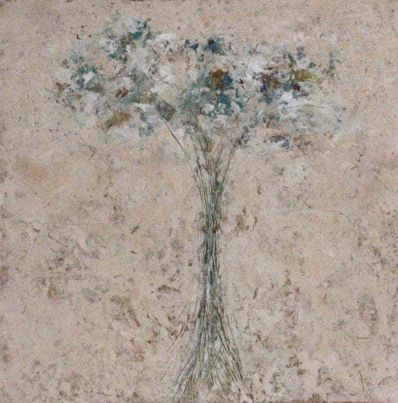 Original Painting Abstract Floral  Oil Cold Wax 18 x 18   Lost and Found Swalla Studio