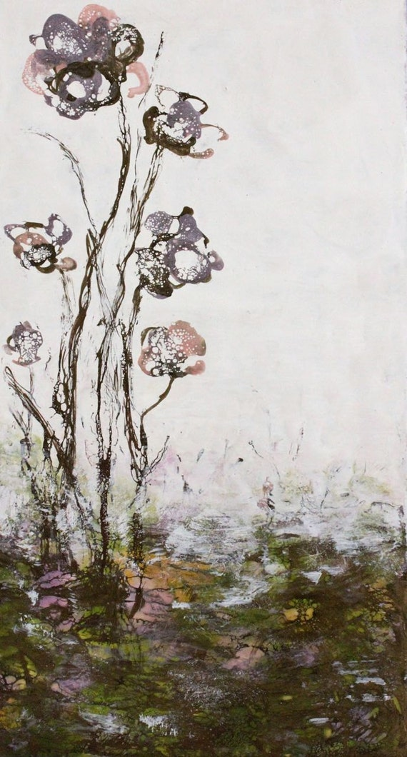 Original Encaustic Bees wax Painting  wild flowers  love Swalla Studio 10 x 20