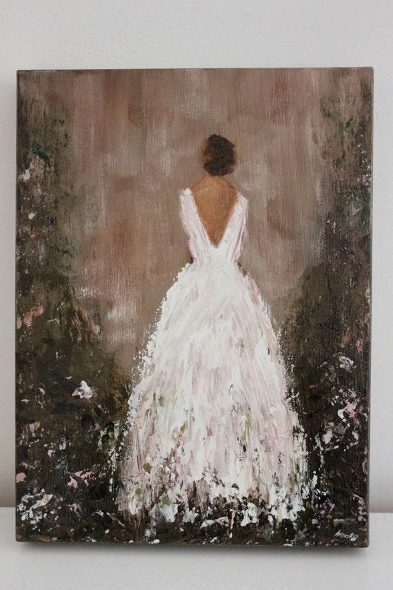 Original Figurative Painting  Ever After 9 x 12  x 1.5  Garden Gown  Swalla Studio