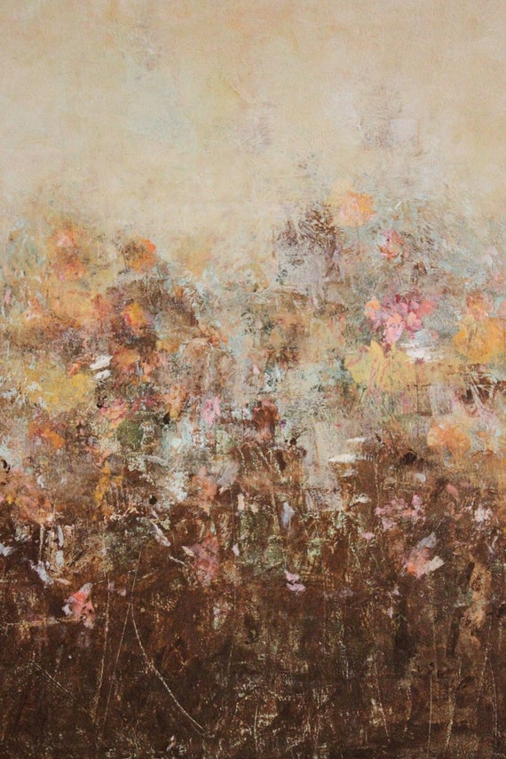 Original Painting Abstract Floral  Garden Oil Cold Wax 18 x 18   With Each Season  Swalla Studio