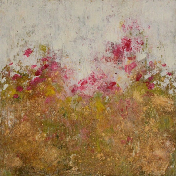 Original Painting Abstract Floral  Oil Cold Wax Gold Pigment 12 x 12 Swalla Studio