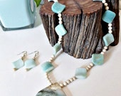 Amazonite and Ocean Wave Jasper pendant necklace with earrings