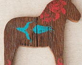 Lilla Vän: LARGE DALA HORSE ( painted wood animal silhouette, swedish decor )