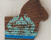Lilla Vän: MEDIUM RAM ( painted wood animal silhouette, swedish decor )
