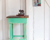 Mint Green 508made Rustic Side Table, Night Stand With Barn Wood Top, No. 34