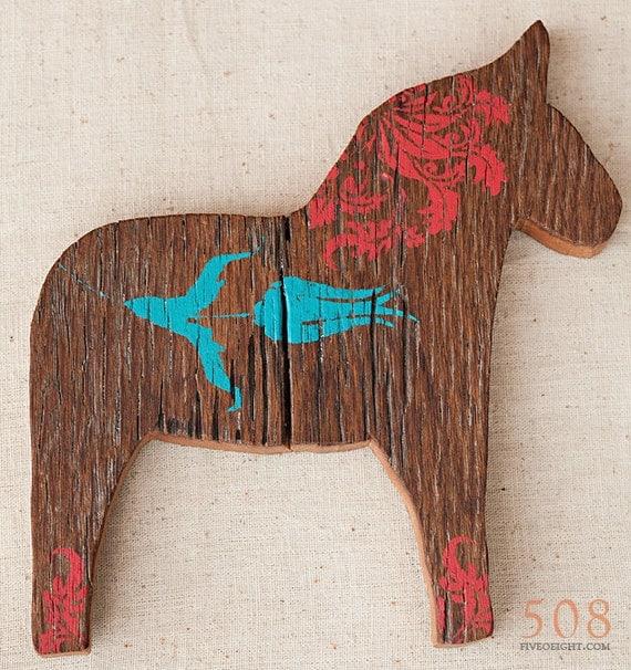 Lilla Vän: LARGE DALA HORSE ( painted wood animal silhouette, swedish decor )