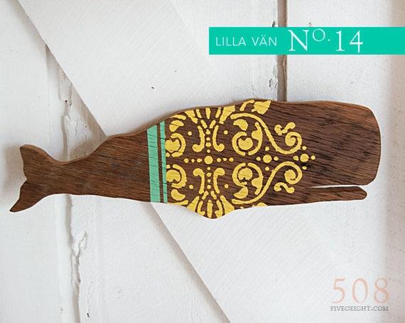 Lilla Vän: MEDIUM WHALE ( painted wood animal silhouette, swedish decor, yellow, mint )