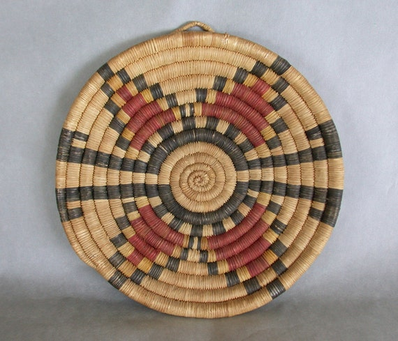 Genuine Old Hopi Coil 9 Inch Plaque Patina & Earth Tones