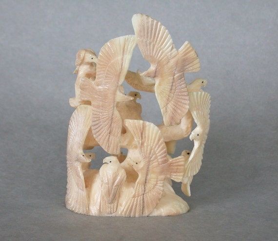 18 Eagles Fossilized Ivory Zuni Fetish Carving