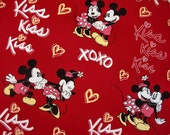 NEW/1 Meter SDLP Cotton Fabric - XOXO Mickey and Minnie/39 Inches X 58 Inches