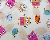 1 Meter Spring Owls Cotton Fabric/39 Inches X 63 Inches