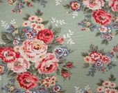 0.5 Meter Cath Kidston Cotton Canvas - Roses on Green/19.5 Inches X 56 Inches