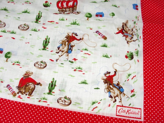 A Piece of Cath Kidston Lightweight Cotton Slub Hankie Fabric - Cowboy Polka Dots/23 Inches by 23 Inches