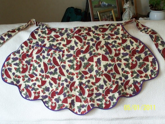 Free Shipping, One of a Kind, Ready to Ship, Apron: Lady's Half Apron From a Vintage Pattern/ Watermelon and Grape Design