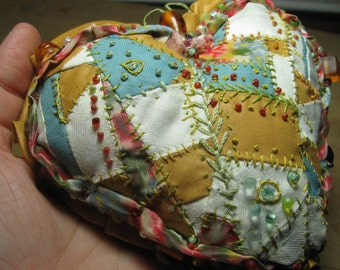 Valentine's Day Keepsake Crazy Quilted Heart Pillow