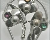 Vintage Silver Floral Hair Clip Brooch