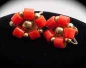 Sweet Vintage Orange Beaded Screw Back Earrings