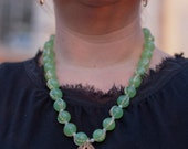 Green Quartz Stone and Chain Necklace - Free Shipping