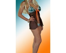NFL Miami Dolphins Lingerie Negligee Babydoll Sexy Teddy Set with Matching G-String Thong Panty - Made with NEW LOGO, See 4th Pic