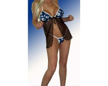 NFL Indianapolis Colts Lingerie Negligee Babydoll Sexy Teddy Set with Matching G-String Thong Panty