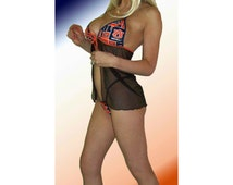 NCAA Auburn Tigers Lingerie Negligee Babydoll Sexy Teddy Set with Matching G-String Thong Panty