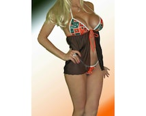 NCAA Miami Hurricanes Lingerie Negligee Babydoll Sexy Teddy Set with Matching G-String Thong Panty