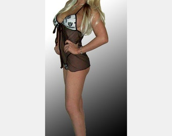 NFL Oakland Raiders Lingerie Negligee Babydoll Sexy Teddy Set with Matching G-String